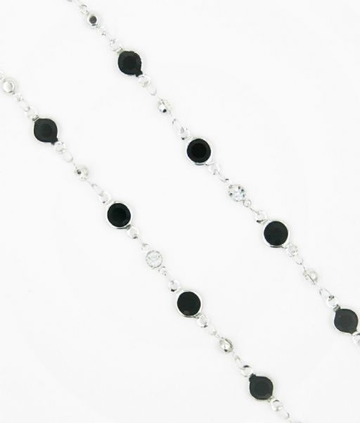 Silver necklace with black crystal 40 inch/100cm